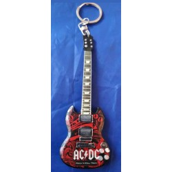 AC/DC 10cm Wooden Tribute Guitar Key Chain