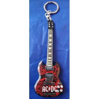 AC/DC 10cm Wooden Tribute Guitar Key Chain