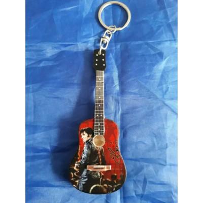 Elvis 68 Comeback 10cm Wooden Tribute Guitar Key Chain