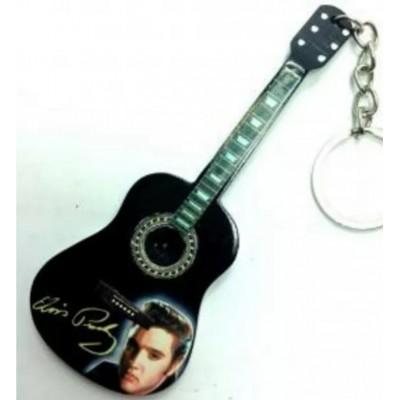 Elvis 10cm Wooden Tribute Guitar Key Chain