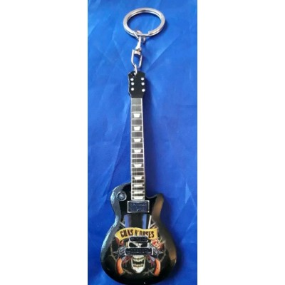 Guns & Roses 10cm Wooden Tribute Guitar Key Chain