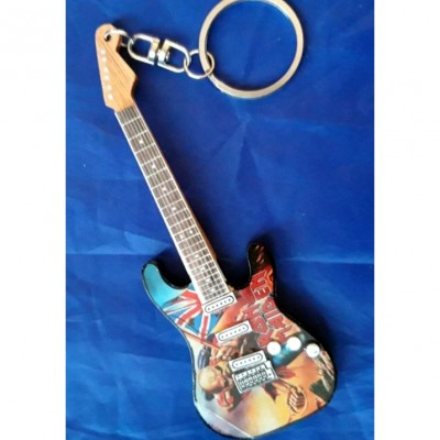 Iron Maiden Trooper 10cm Wooden Tribute Guitar Key Chain