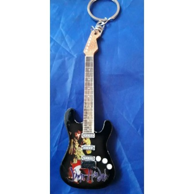 Jimi Hendrix 10cm Wooden Tribute Guitar Key Chain