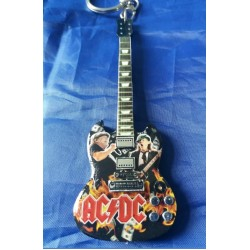 AC/DC Brian Johnson 10cm Wooden Tribute Guitar Key Chain