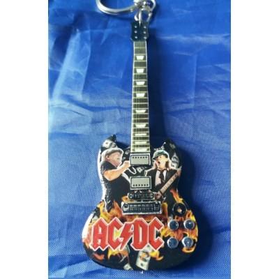 AC/DC Brian Johnson 10cm Wooden Tribute Guitar Key Chain