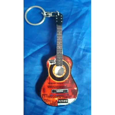 Oasis 10cm Wooden Tribute Guitar Key Chain