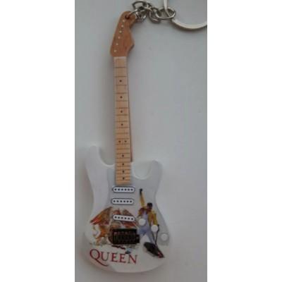 Queen White 10cm Wooden Tribute Guitar Key Chain