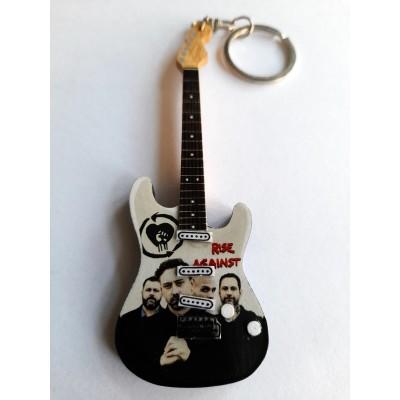 Rise Against 10cm Wooden Tribute Guitar Key Chain