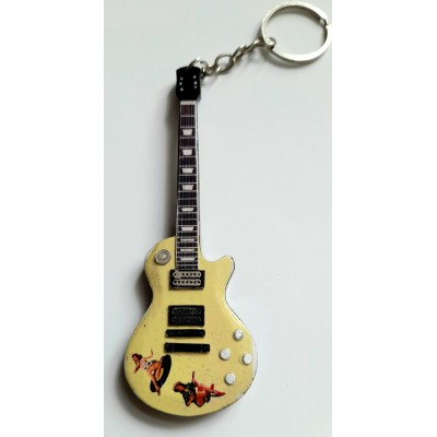 Sex Pistols Steve Jones 10cm Wooden Tribute Guitar Key Chain