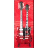Led Zeppelin Twin Neck Red Tribute Miniature Guitar
